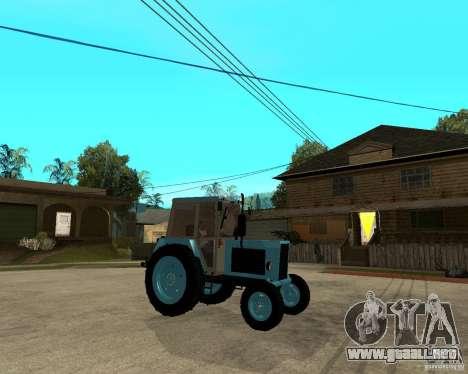 Tractor Belarus 80.1 y remolque para la visión correcta GTA San Andreas