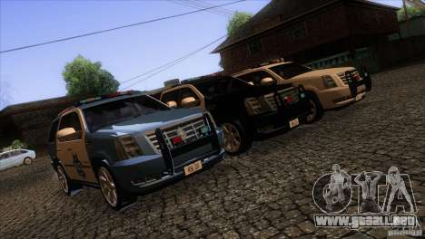 Cadillac Escalade 2007 Cop Car para vista lateral GTA San Andreas