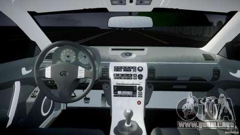 Infiniti G35 Coupe 2003 JDM Tune para GTA 4 visión correcta