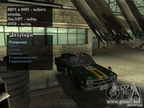 Nissan Skyline 2000 GT-R para GTA San Andreas vista hacia atrás