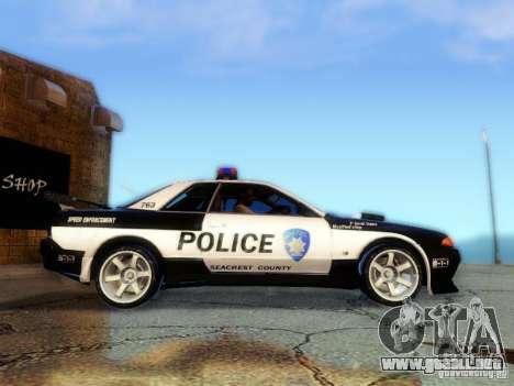 Nissan Skyline R32 Police para GTA San Andreas vista posterior izquierda