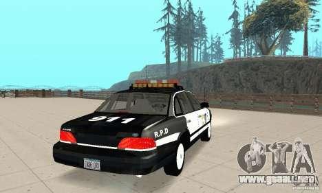 Ford Taurus 1992 Police para GTA San Andreas vista posterior izquierda