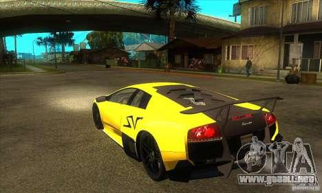 Lamborghini Murcielago LP 670 SV para GTA San Andreas vista posterior izquierda