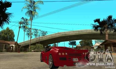 SSC Ultimate Aero Stock version para GTA San Andreas vista posterior izquierda