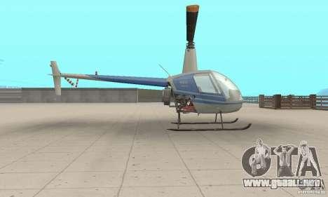 Robinson R22 para GTA San Andreas vista posterior izquierda