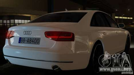 Audi A8 (D4, Typ 4H) 2010 Alpha para GTA 4 Vista posterior izquierda