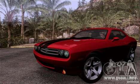 Dodge Challenger SRT8 para GTA San Andreas vista hacia atrás