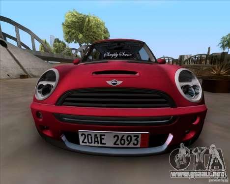 Mini Cooper S Euro para GTA San Andreas vista posterior izquierda