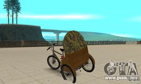 Manual Rickshaw v2 Skin2 para GTA San Andreas vista posterior izquierda