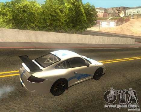Porsche 997 GT3 RS para GTA San Andreas vista hacia atrás