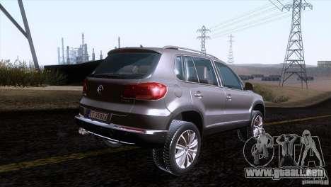 Volkswagen Tiguan 2012 para GTA San Andreas vista posterior izquierda