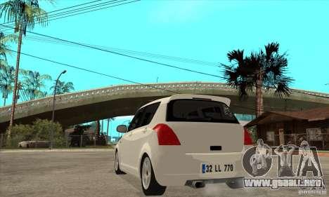 Suzuki Swift 4x4 CebeL Modifiye para GTA San Andreas vista posterior izquierda