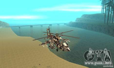 Hydra Hunter para GTA San Andreas vista hacia atrás