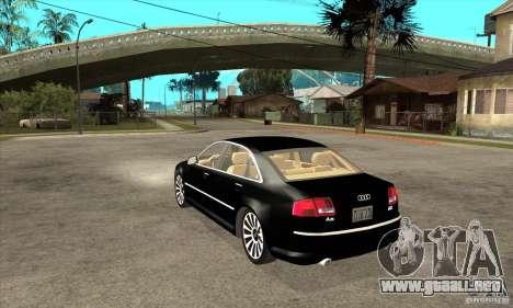 Audi A8 del portador 3 para GTA San Andreas vista posterior izquierda