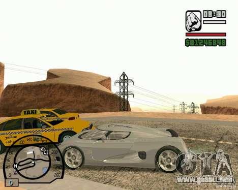 Koenigsegg CC8S para GTA San Andreas vista hacia atrás