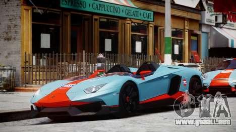 Lamborghini Aventador J 2012 Gulf para GTA 4 left