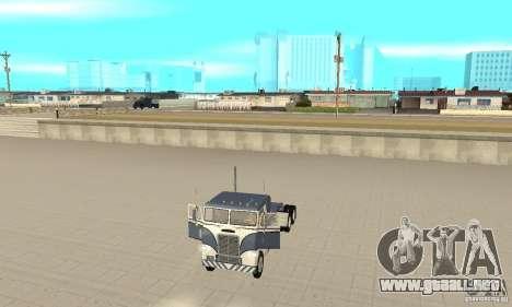White Freightliner Extended Wheel Base para GTA San Andreas vista hacia atrás