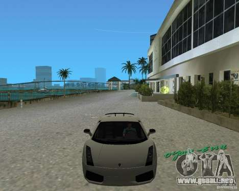 Lamborghini Gallardo Superleggera para GTA Vice City visión correcta
