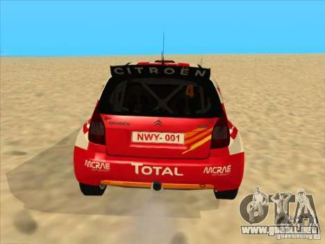 Citroen Rally Car para GTA San Andreas vista posterior izquierda