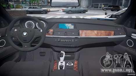 BMW X6M Police para GTA 4 vista hacia atrás