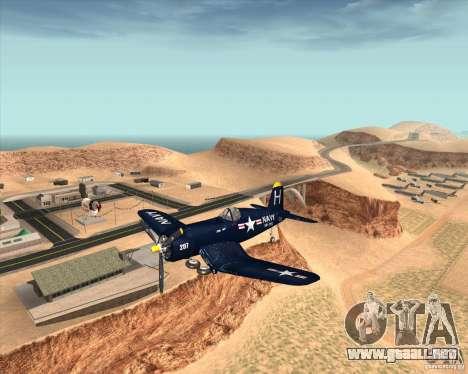 Aereo Corsair F4U1D para GTA San Andreas vista hacia atrás