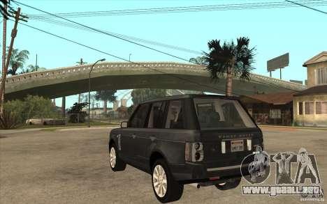 Range Rover Supercharged 2008 para GTA San Andreas vista posterior izquierda