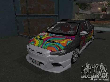 Mitsubishi Evolution X Stock-Tunable para la visión correcta GTA San Andreas