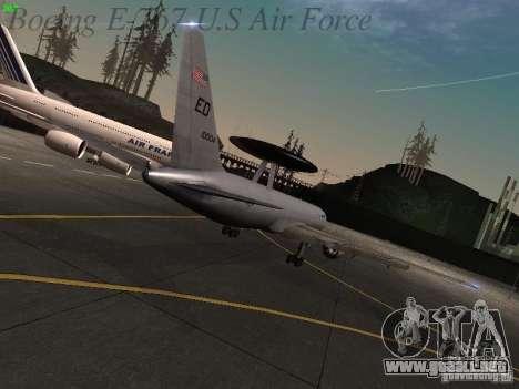 Boeing E-767 U.S Air Force para GTA San Andreas vista hacia atrás