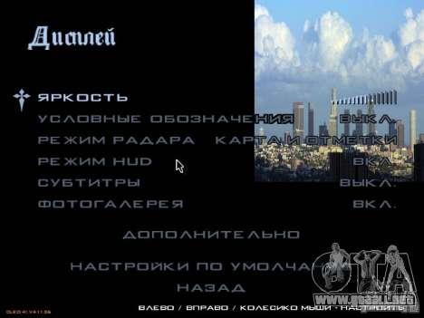 Nuevo menú al estilo de Los Ángeles para GTA San Andreas quinta pantalla