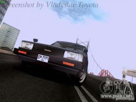 Toyota Corolla TE71 Coupe para GTA San Andreas vista hacia atrás