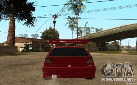 Volkswagen Golf 2 GTI Tuned para GTA San Andreas vista posterior izquierda