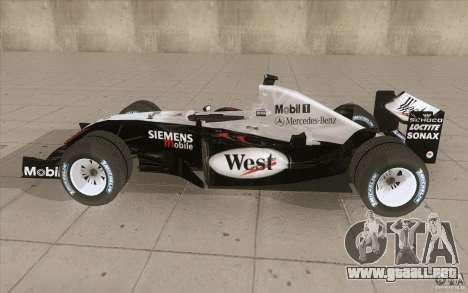 McLaren Mercedes MP 4-19 para GTA San Andreas left