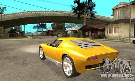 Lamborghini Miura Concept 2006 para GTA San Andreas vista posterior izquierda