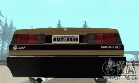Volkswagen Santana GLS 1989 para vista lateral GTA San Andreas