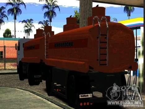 MAZ 533702 trailer camión para GTA San Andreas vista posterior izquierda