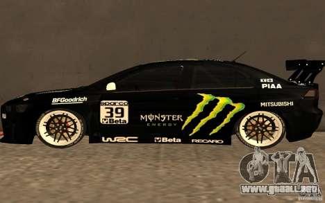 Mitsubishi Lancer Evolution X Monster Energy para GTA San Andreas left