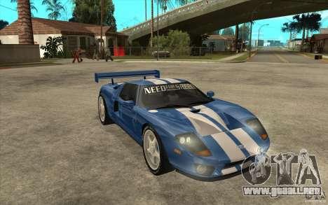 Ford GT para GTA San Andreas vista hacia atrás