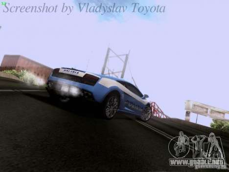 Lamborghini Gallardo LP560-4 Polizia para GTA San Andreas vista hacia atrás