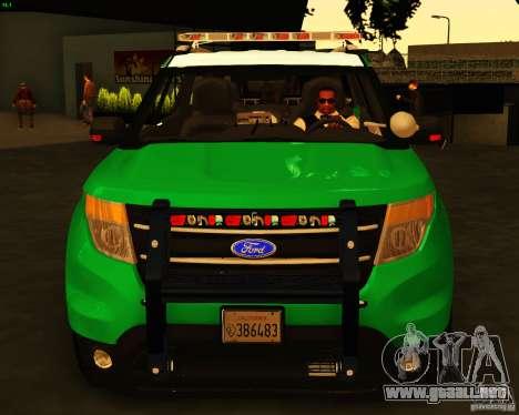 Ford Explorer 2011 VCPD Police para la visión correcta GTA San Andreas