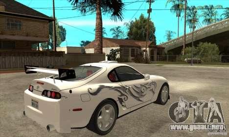 Toyota Supra NFSMW Tunable para visión interna GTA San Andreas