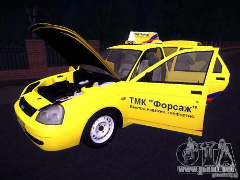 LADA Priora 2170 Taxi TMK Afterburner para vista inferior GTA San Andreas