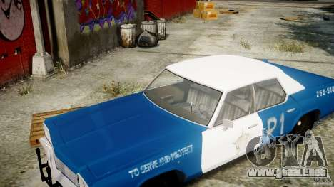 Dodge Monaco 1974 (bluesmobile) para GTA 4 vista lateral