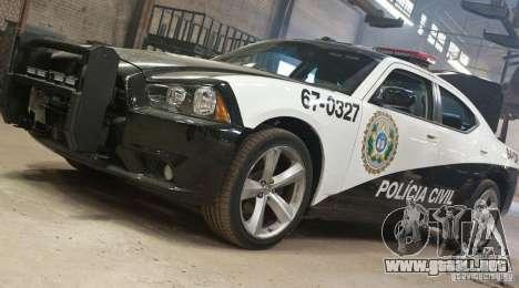 Dodge Charger Policia Civil from Fast Five para GTA San Andreas vista hacia atrás
