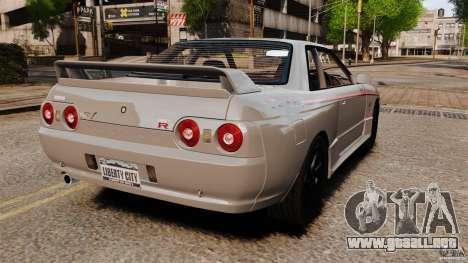 Nissan Skyline GT-R (BNR32) para GTA 4 Vista posterior izquierda