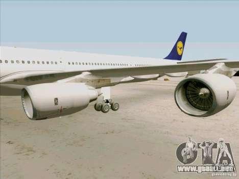 Airbus A-340-600 Lufthansa para GTA San Andreas vista hacia atrás