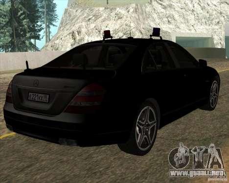 Mercedes-Benz S65 AMG W221 para GTA San Andreas vista posterior izquierda