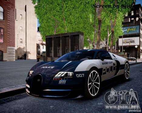 Bugatti Veryon SS COP para GTA 4 vista interior