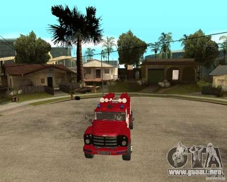 Fuego ZIL 133GÂ AC para GTA San Andreas vista hacia atrás