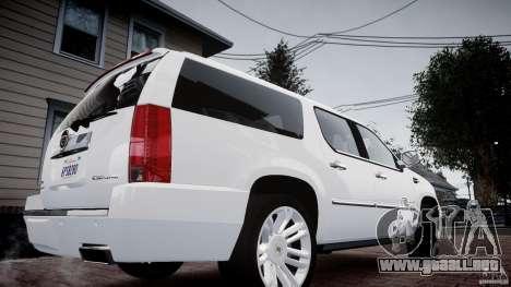 Cadillac Escalade ESV para GTA 4 Vista posterior izquierda