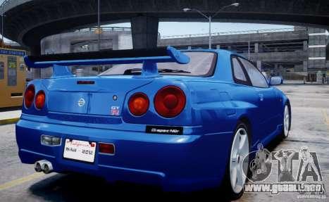 Nissan Skyline GT-R R34 Mspec para GTA 4 left